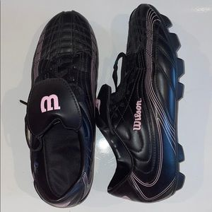 Women's Wilson Cleats - Pink/Black Leather - 8